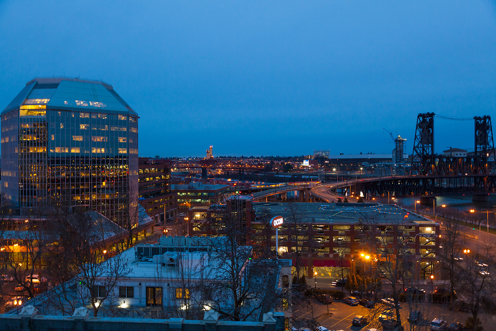 Evening views of Portland Oregon's City Center / Downtown