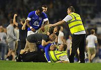 Football - Pre-Season Friendly - Everton vs. AEK Athens<br /> Everton's Tony Hibbert (centre on steward) scores and the pitch is invaded