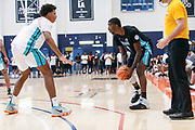 THOUSAND OAKS, CA Sunday, August 12, 2018 - Nike Basketball Academy. Patrick Williams 2019 #20 of West Charlotte HS scans the floor. <br /> NOTE TO USER: Mandatory Copyright Notice: Photo by John Lopez / Nike