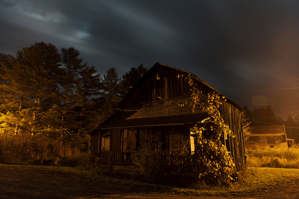 Moonlit Night over Abandoned House. Greenbrier County, West Virginia.