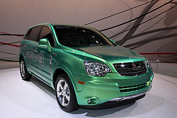 11 February 2009: Saturn VUE Plug-in Concept.  This vehicle is expected to be the first regular production plug-in hybrid electric vehicle. Depending on a consumer's drive cycle, the Vue plug-in hybrid will be the most fuel-efficient vehicle offered by a major automaker.<br /> This Vue Green Line will use a modified version of GM's two-mode hybrid system and plug-in technology, a lithium-ion battery pack, highly efficient electronics and powerful electric motors to achieve significant increases in fuel economy. When the lithium-ion batteries are fully charged, the Vue plug-in hybrid will potentially double the fuel efficiency of any current SUV. After electric-only propulsion depletes the lithium-ion energy storage system to a specified level, the battery is replenished by utilizing the two-mode hybrid system's electric motors and regenerative brake systems.<br />  The Chicago Auto Show is a charity event of the Chicago Automobile Trade Association (CATA) and is held annually at McCormick Place in Chicago Illinois.