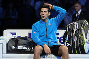 Novak Djokovic after winning the championship during the final of the ATP World Tour Finals between Roger Federer of Switzerland and Novak Djokovic at the O2 Arena, London, United Kingdom on 22 November 2015. Photo by Phil Duncan.