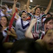 Fluminense fans celebrate a goal for their side during the Fluminense V  Palmeiras, Futebol Brasileirao  League match at the Jornalista Mário Filho Maracana Stadium, The match ended in a 1-1 draw, Rio de Janeiro,  Brazil. 1st September 2010. Photo Tim Clayton.