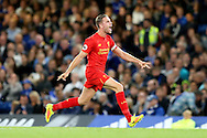 GOAL / CELE - Jordan Henderson of Liverpool celebrates towards the Liverpool fans after scoring his sides 2nd goal to make it 0-2. Premier league match, Chelsea v Liverpool at Stamford Bridge in London on Friday 16th September 2016.<br /> pic by John Patrick Fletcher, Andrew Orchard sports photography.