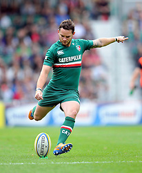 Leicester Tigers fly half Ryan Lamb kicks for the posts - Photo mandatory by-line: Patrick Khachfe/JMP - Tel: Mobile: 07966 386802 - 08/09/2013 - SPORT - RUGBY UNION - Welford Road Stadium - Leicester Tigers v Worcester Warriors - Aviva Premiership.