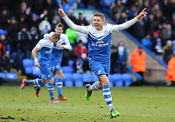 Peterborough United's Harry Beautyman celebrates the opening goal - Photo mandatory by-line: Joe Dent/JMP - Mobile: 07966 386802 - 31/01/2015 - SPORT - Football - Peterborough - ABAX Stadium - Peterborough United v Yeovil Town - Sky Bet League One