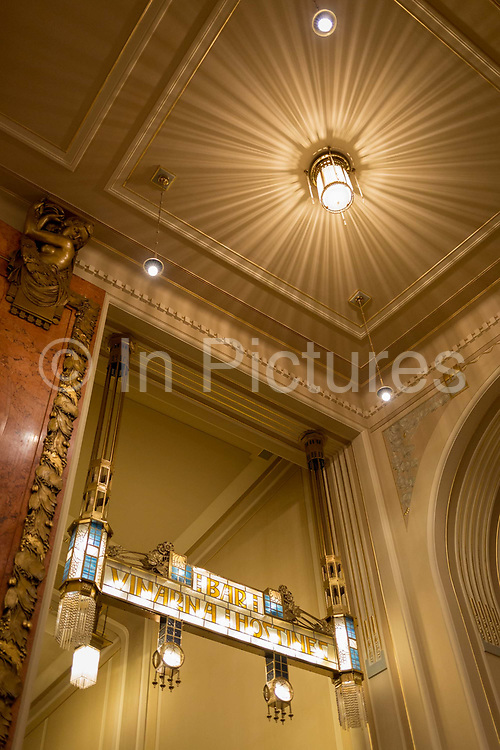 Sumptuous Art Nouveau architectural features of Municipal House, on 18th March, 2018, in Prague, the Czech Republic. Municipal House is a civic building that houses Smetana Hall, a celebrated concert venue, in Prague. It is located on Namesti Republiky next to the Powder Gate in the center of the city.