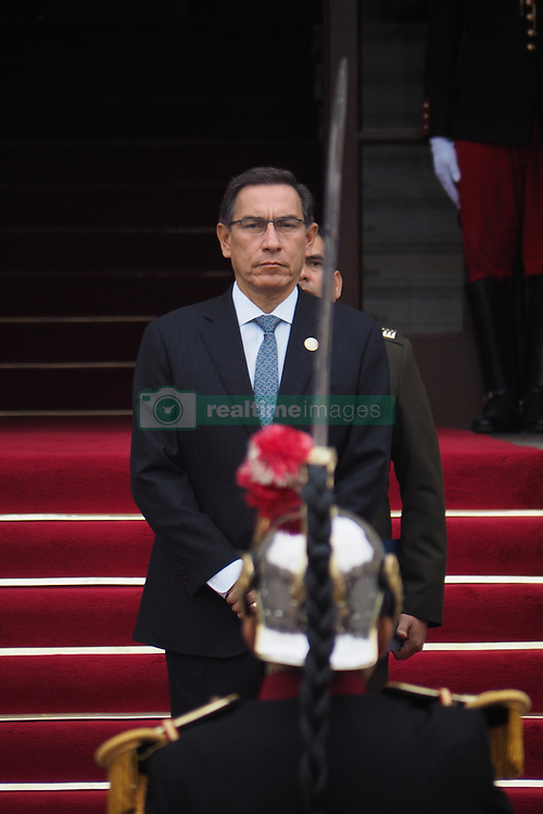 May 26, 2019 - Lima, Lima, Peru - Martin Vizcarra, President of Peru, receiving the salute from the Government Palace guard as part of the activities of the 19th Andean Presidential Council and commemoration of the 50 years of the Andean Community, whose pro tempore presidency is being exercised in Peru (Credit Image: © Carlos Garcia Granthon/ZUMA Wire)