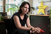 02 JUL 2019, BERLIN/GERMANY:<br /> Annalena Baerbock, MdB, B90/Gruene, Parteivorsitzende, waehrend einem Interview, in ihrem Buero, Jakob-Kaiser-Haus, Deutscher Bundestag<br /> IMAGE: 20190702-01-006