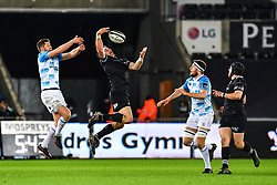 Ospreys' Kieron Fonotia claims the high ball<br /> <br /> Photographer Craig Thomas/Replay Images<br /> <br /> Guinness PRO14 Round 18 - Ospreys v Leinster - Saturday 24th March 2018 - Liberty Stadium - Swansea<br /> <br /> World Copyright © Replay Images . All rights reserved. info@replayimages.co.uk - http://replayimages.co.uk