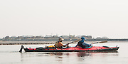 Bangladesh, kayak touring expedition, documenting climate change. Paddling on the Jamuna River (known as the Brahmaputra in India). MR Available