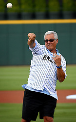 June 28, 2017 - Charlotte, NC, USA - Former major league shortstop Bucky Dent throws the ceremonial first pitch at the Charlotte Knights' BB&T Ballpark in Charlotte, N.C., on Wednesday, June 28, 2017. During his career, Dent played for the Chicago White Sox, New York Yankees, Texas Rangers and Kansas City Royals. (Credit Image: © Jeff Siner/TNS via ZUMA Wire)