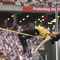 Fatimah Zahra Bte Mohd Rafique (#186) of Victoria Junior College  clinched gold after clearing a personal best height of 1.56m. (Photo © Stefanus Ian/Red Sports)
