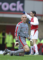 Photo: Jo Caird<br /> Arsenal v Charlton<br /> Barclaycard Premiership 2004<br /> <br /> 28/02/2004.<br /> <br /> DEAN KIELY LOOKS DEJECTED AS PIRES SCORES