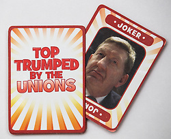 "© Licensed to London News Pictures . 29/09/2013 . Manchester , UK . Pack with Joker , Len McCluskey . "" Top Trumped by the Unions "" cards handed out at the Conservative Party Conference . The Conservative Party Conference at Manchester Central . Photo credit : Joel Goodman/LNP **FULL PACK OF 40 TRUMP CARDS AVAILABLE ON REQUEST**"