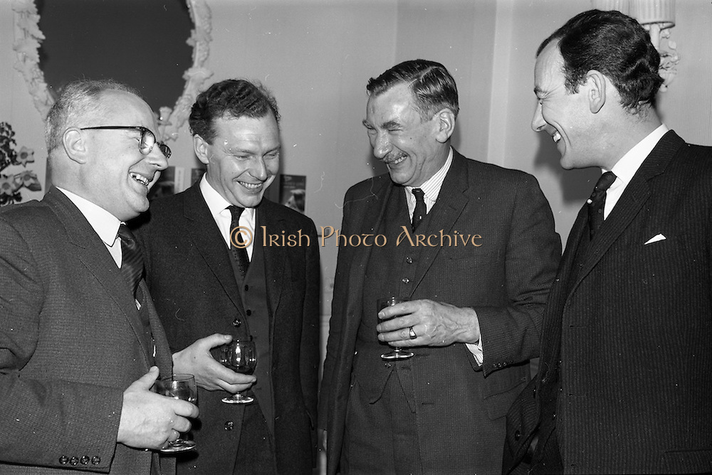 09/04/1964<br /> 04/09/1964<br /> 09 April 1964<br /> Goya Cosmetics Reception at the Russell Hotel, Dublin. Pictured at the reception were (l-r): Peter Paxton, Goya; John Young, R. Wilson Young; F.C. Palmer and N.H.M. Lytton, Goya.