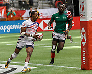 VANCOUVER, BC - MARCH 11: Perry Baker (#11) of USA scores during Game # 40- United States vs Kenya Cup SF 2 match at the Canada Sevens held March 10-11, 2018 in BC Place Stadium in Vancouver, BC. (Photo by Allan Hamilton/Icon Sportswire)