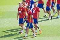 Iago Aspas, Marco Asensio during the training of the spanish national football team in the city of football of Las Rozas in Madrid, Spain. August 28, 2017. (ALTERPHOTOS/Rodrigo Jimenez)