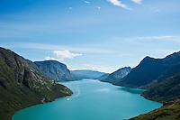 Colorful water of Lake Gjende from above Memurubu looking towards Gjendesheim, Jotunheimen national park, Norway