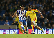 Vadis Odjidja-Ofoe and Brighton central midfielder, Dale Stephens during the Sky Bet Championship match between Brighton and Hove Albion and Rotherham United at the American Express Community Stadium, Brighton and Hove, England on 15 September 2015.