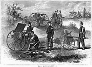 Montigny mitrailleuse, rapid fire gun introduced by French during the Franco-Prussian War 1870-1871. 37 barrels, operated by 5 men could deliver 482 rounds per minute. From 'The Graphic', London, 1870.
