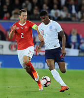 Football - 2018 / 2019 International Friendly - England vs. Switzerland<br /> <br /> Marcus Radhford of England and Stephan Lichtsteiner of Switzerland, at King Power Stadium.<br /> <br /> COLORSPORT/ANDREW COWIE