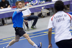 Andrew Smith of England during final match in man singles at Slovenia Open Badminton tournament 2012, on May 13, 2012, in Medvode, Slovenia. (Photo by Grega Valancic / Sportida.com)