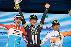 Podium: Leah Kirchmann, Christine Majerus, Anouska Koster  - Drentse 8, a 140km road race starting and finishing in Dwingeloo, on March 13, 2016 in Drenthe, Netherlands.