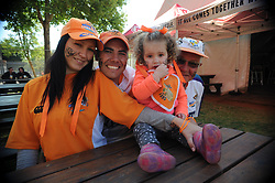 Johannesburg 08-09-18 Cheetah supporters Karina and Markus Fensham from Meyerton with their daughter Dannalene(2) and father Tinus Stapelberg from Nigel. Rugby Currie Cup match between the Xerox Golden Lions vs Toyota Free State Cheetahs at Emirates Airline Park. Picture: Karen Sandison/African News Agency(ANA)