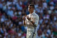 Real Madrid's Cristiano Ronaldo durign the match of La Liga between Real Madrid and SD Eibar at Santiago Bernabeu Stadium in Madrid. October 02, 2016. (ALTERPHOTOS/Rodrigo Jimenez)