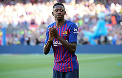 August 15, 2018 - Barcelona, Spain - Ousmane Dembele during the presentation of the team 2018-19 before the match between FC Barcelona and C.A. Boca Juniors, corresponding to the Joan Gamper trophy, played at the Camp Nou, on 15th August, 2018, in Barcelona, Spain. (Credit Image: © Joan Valls/NurPhoto via ZUMA Press)