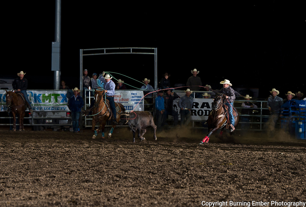 Kolton Schmidt and Cole Davison in the Team Roping event at the Last Chance Stampede Slack in Helena MT July 26th, 2018.  Photo by Josh Homer/Burning Ember Photography.  Photo credit must be given on all uses.