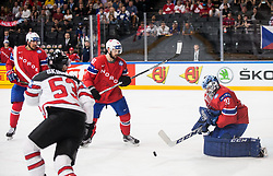 Daniel Sorvik of Norway and Henrik Haukeland of Norway during the 2017 IIHF Men's World Championship group B Ice hockey match between National Teams of Canada and Norway, on May 15, 2017 in AccorHotels Arena in Paris, France. Photo by Vid Ponikvar / Sportida