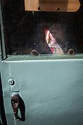 The virgin mary appears inside a Piaggio Ape three-wheel van, Trapani, Sicily. (c) 2013 davewalshphoto.com