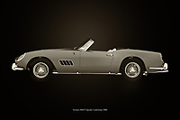 Do you already see yourself driving around in this 1960 Ferrari 250 GT Spyder California along winding roads in a vast landscape or strolling with this Ferrari 250 GT Spyder California on boulevards? –<br /> <br /> BUY THIS PRINT AT<br /> <br /> FINE ART AMERICA<br /> ENGLISH<br /> https://janke.pixels.com/featured/ferrari-250-gt-spyder-california-1960-black-and-white-jan-keteleer.html<br /> <br /> WADM / OH MY PRINTS<br /> DUTCH / FRENCH / GERMAN<br /> https://www.werkaandemuur.nl/nl/shopwerk/Ferrari-250-GT/743034/132?mediumId=11&size=75x50<br /> -