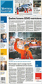 October 01, 2021 - CANADA: Front-page: Today's Newspapers In Canada