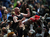 Football - 2018 / 2019 EFL Sky Bet League One - Play-Off Semi-Final, Second Leg: Charlton Athletic (2) vs. Doncaster Rovers (1)<br /> <br /> Charlton Athletic's Jonathan Williams carried aloft by the fans after their penalty kick victory, at The Valley.<br /> <br /> COLORSPORT/ASHLEY WESTERN