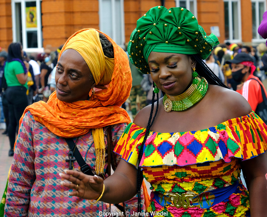 Marvina Newton (green headwrap) at at annual Reparation Revolution event on Afrikan Emancipation Day in Windrush Square Brixton 2021.
