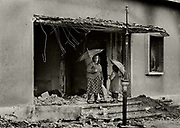 Ransacked communist party headquarters in Shkodra