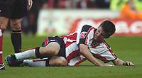 Photo: Jonathan Butler.<br />Southampton v Stoke City. Coca Cola Championship. 21/10/2006.<br />Grzegorz Rasiak of Southampton feels the pain.