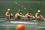Lucerne, SWITZERLAND, Start  AUS LM 4- bow Rod CHISHOLM, Antont EDWARDS, Ben CURETON and Todd SKIPWORTH. competing at the 2007 FISA World Cup, Lucerne, on the Rotsee Lake, 13/07/2007  [Mandatory Credit Peter Spurrier/ Intersport Images] , Rowing Course, Lake Rottsee, Lucerne, SWITZERLAND.