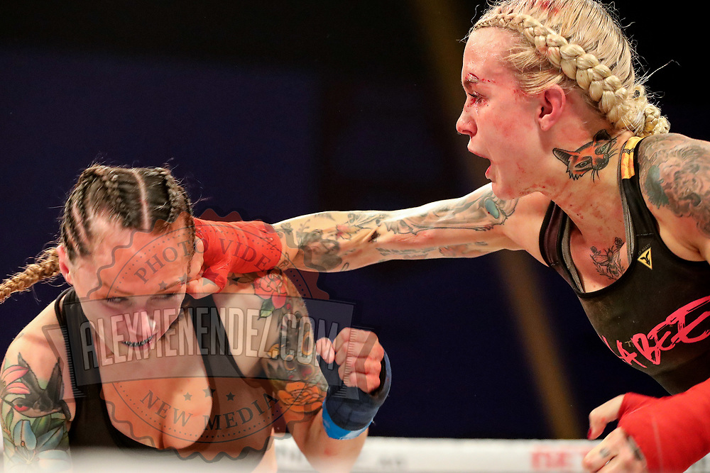 TAMPA, FL - FEBRUARY 05: Taylor Starling (R) fights against Charisa Sigala during the BKFC KnuckleMania event at RP Funding Center on February 5, 2021 in Tampa, Florida. (Photo by Alex Menendez/Getty Images) *** Local Caption *** Charisa Sigala; Taylor Starling