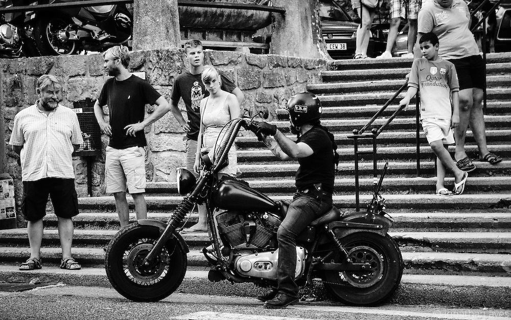 The Boozefighter Motocycle Club arrive in Largentière, France