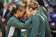 April 4, 2016; Indianapolis, Ind.; Kiki Robertson and Jenna Buchanan share a moment before the NCAA Division II Women's Basketball National Championship game at Bankers Life Fieldhouse between UAA and Lubbock Christian. The Seawolves lost to the Lady Chaps 78-73.