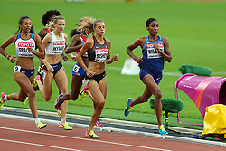 London, August 11 2017 . Adelle Tracey, Great Britain, Hedda Hynne, Norway, Melissa Bishop, Canada, and Ajee Wilson, USA, in the women's 800m semi-final on day eight of the IAAF London 2017 world Championships at the London Stadium. © Paul Davey.
