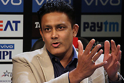 March 22, 2019 - Mumbai, India - Former Indian cricketer Anil Kumble reacts while addressesing the media in a press conference in Mumbai, India on 22 March 2019. As the official broadcaster, Star Sports has unveiled 'Select Dugout' for the upcoming VIVO IPL 2019  (Credit Image: © Himanshu Bhatt/NurPhoto via ZUMA Press)