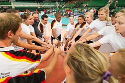 06.09.2013, Gery Weber Stadion, Halle, GER, Volleyball EM 2013, Deutschland vs Spanien, im Bild,, Team Deutschland mit Thomas Krohne ( Praesident Deutscher Volleyball Verband DVV) und Giovanni Guidetti (Trainer/ Bundestrainer GER) // during the volleyball european championchip match between Germany and Spain at the Gery Weber Stadion in Halle, Germany on 2013/09/06. EXPA Pictures © 2013, PhotoCredit: EXPA/ Eibner/ Kurth<br /> <br /> ***** ATTENTION - OUT OF GER *****