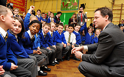 © Licensed to London News Pictures. 27/01/2012, Solihull, UK. NICK CLEGG takes questions from school children. NICK CLEGG  the British Deputy Prime Minister and Liberal Democrat leader is joined by Member of Parliament for Solihull LORLEY BURTat Peterbrook Primary School, Solihull, to see how the local primary school is using its Pupil Premium money. 27th January 2012.   Photo credit : Stephen Simpson/LNP