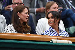 Catherine, Duchess of Cambridge and Meghan, Duchess of Sussex attend day twelve of the Wimbledon Lawn Tennis Championships at All England Lawn Tennis and Croquet Club on July 14, 2018 in London, UK. Photo by Corinne Dubreuil/ABACAPRESS.COM