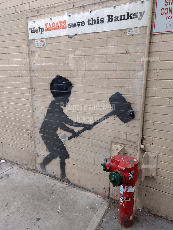 """Help Zabar's save this Banksy"" on the Upper West Side New York CIty 20 October 2018"